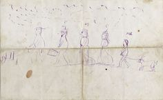 Families fled the Great Chicago Fire of 1871 on foot with what they could. One little boy drew this carefully labeled depiction of his family's escape. He is pictured at the end leading the family goat. ICHi-63792