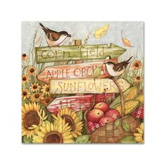 Harvest Signs Paper Napkins - Luncheon - Decoupage or Entertaining – 20 Napkins Decoupage Vintage, Decoupage Paper, Calendar Wallpaper, Embroidered Towels, Fall Cards, Sign Printing, Fall Harvest, Fall Halloween, Halloween Cards