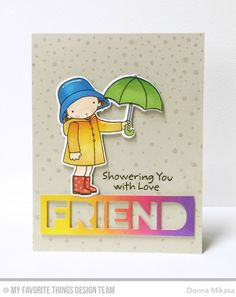 Showering You With Love Stamp Set and Die-namics, Friend Die-namics, Snowfall Background - Donna Mikasa  #mftstamp
