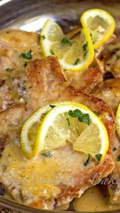 Pork Chops with Lemon Thyme Cream Sauce ~ All it takes is one pan, a few simple ingredients and 30 minutes to these succulent pork chops in a lemony thyme cream sauce.