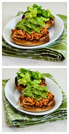 Slow Cooker Sriracha-Pineapple Barbecued Chicken Sandwiches with Easy Guacamole; this is definitely in my top ten all-time favorite slow cooker recipes!  [via Slow Cooker from Scratch] #SlowCooker  #DairyFree  #SlowCookerSummerDinner