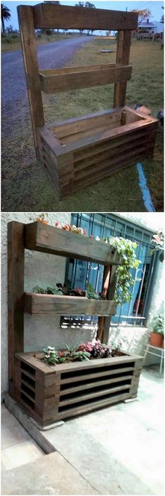 To add up something really creative and innovative in your house, we would better be suggesting you with the awesome idea of pallet planter being inspiring on the whole designed out. The stacking of the planks of pallets has been done superbly. Make it fill up with fresh flowers. #woodworkingideas