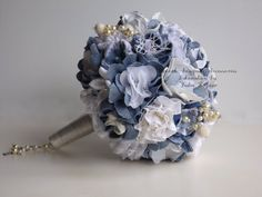 Denim wedding bouquet by unusualbouquets on Etsy, $150.00