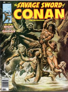 Savage Sword of Conan 32 VF Marvel Magazine Book Cover Art, Comic Book Covers, Caricature, Man Ray Photos, Conan Der Barbar, Marvel Magazine, Conan Comics, Comic Books For Sale, Science Fiction Magazines