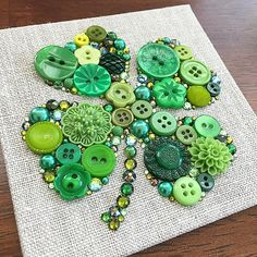 Just finished this small custom piece. Swarovski makes the most beautiful green rhinestones!! And so many different shades too! #buttons…