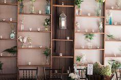 candle and bud vase shelves with wedding lantern