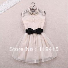Free Bow Belt Spring Summer 2014 New Fashion Sweet Pearl Diamond Lapel Waist Sleeveless Tank Vest Dress Gauze Tutu ,Black,Beige