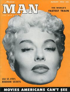 Stripper Lili St. Cyr  -  Modern Man Magazine from 1955 featuring Burlesque Stripper Gal: Lili St. Cyr on the cover  - mature