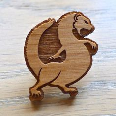Wooden Mongoose Hat Pin by Crystalchemystic on Etsy