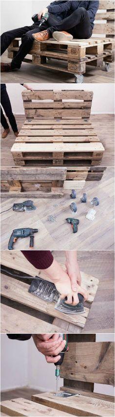 la confection d'un salon de jardin en palette, idée pour un meuble exterieur en palette à fabriquer soi même