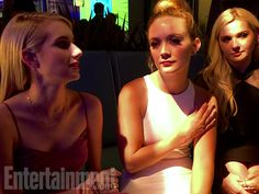 """Emma Roberts, Billie Lourd and Abigail Breslin """"The Chanels find their light at the FOX party."""" Image Credit: Jamie Lee Curtis"""
