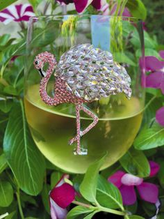 Flamingo Stemless Wine Glass by Cork Pops - The Queens' Jewels Collection Exquisite Hand Crafted Jeweled Glassware MADE IN THE USA