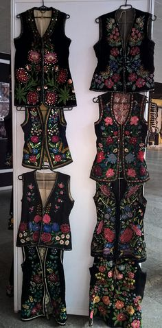 Women's colorful kersetkas. This kind of vest is usual for Ukrainian traditional costume