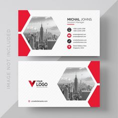 White business card with red details Fre. Free Printable Business Cards, Make Business Cards, Professional Business Card Design, Elegant Business Cards, Creative Business, Construction Business Cards, Business Poster, Visiting Card Design, Bussiness Card