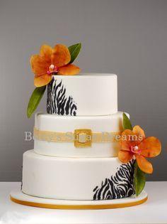 orange orchid (replace with red) and zebra wedding cake. I like just a splash of zebra! Zebra Wedding, Black Wedding Cakes, African Wedding Cakes, Safari Wedding, Pretty Cakes, Beautiful Cakes, Amazing Cakes, Traditional Wedding Cake, Traditional Cakes