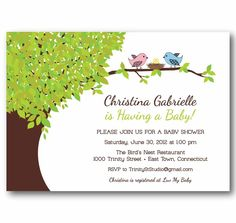 Baby Shower Invitation - Mod Love Birds On a Tree - Sip and See Announcement - PRINTABLE DIY Digital or Printed Design (optional). $18.00, via Etsy.