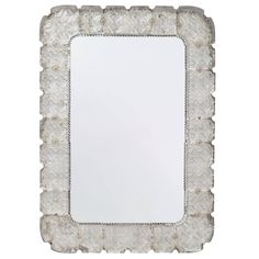 Glass Framed Mirror by Carl Fagerlund, Orrefors, 1940s | From a unique collection of antique and modern wall mirrors at https://www.1stdibs.com/furniture/mirrors/wall-mirrors/