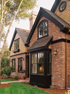 Dark Trim On Brick House | For the Home / black trim against brick front. stain deck black as ...
