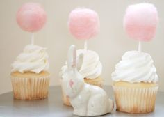 These sweet pink cupcake toppers are made of wool, I believe, but I'd love to try it with cotton candy. (I've been obsessing about topping cupcakes with cotton candy, but it melts so fast--this could be my solution! Cotton Candy Cupcakes, Easter Cupcakes, Mini Cupcakes, Bunny Cupcakes, Valentine Cupcakes, Mocha Cupcakes, White Cupcakes, Pretty Cupcakes, Gourmet Cupcakes