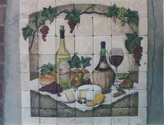 Bloomingtiles.com Custom hand-painted tile mural Wine, fruit and cheese