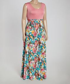Look what I found on #zulily! Pink & Teal Floral Maxi Dress - Plus #zulilyfinds