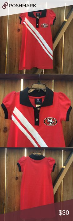 SF 49er girls dress Really cute girls 49er dress. Great to wear now during football season & all year round. 55% cotton 45% polyester Nfl team apparel Dresses Casual