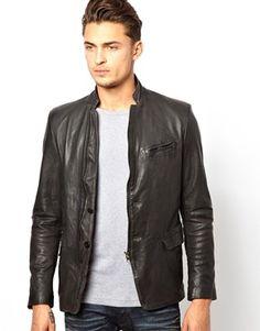 Diesel-Leather-Blazer-L-Momor-Zip-Front