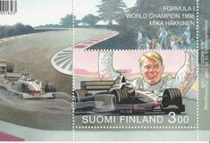 Suomi Finland 1998 Stamp Block Mika Hakkinen F1 Formula One World Champion MNH