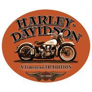 Harley Davidson Fat Boy Oval Tin Sign - Ande Rooney Harley Davidson Embossed Tin Sign Collection utilizes lithographed on tin process, this makes for a more detailed and inticate sign. The result is a