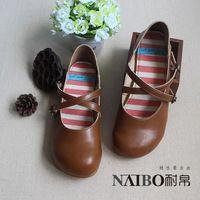 """Envío gratis 2015 nuevo japonés hechos a mano puro zapatos del estilo popular, """" para mujer Sen """" zapatos casuales, de tacón bajo retro ocio"""