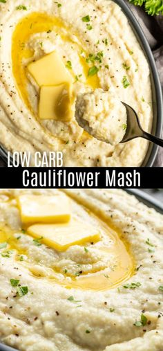 This Keto Cauliflower Mash makes an awesome low carb side dish for weeknight din. Cauliflower Mashed Potatoes Keto, Cream Cheese Potatoes, Creamed Potatoes, Cauliflower Dishes, Mashed Potato Recipes, Creamy Mashed Potatoes, Cheesy Cauliflower, Low Carb Side Dishes, Side Dish Recipes