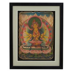 These beautiful frescoes are newly produced, each painted by a skilled artist using designs from original Tibetan paintings. This one depicts Marici, the buddhist deva associated with the sun. #ChineseWallArt