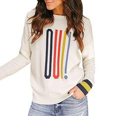 iFOMO Women Long Sleeve O-Neck Letter Print Sweater Striped Knit Pullover  Oversized Blouse Knitted 004a0904a