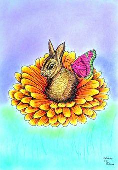 Bennett Klein and Mae Klein - CMSB Easter - Bunny Coloured with Polychromos
