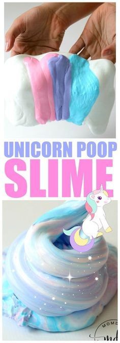 Unicorn Poop Slime : Updated Unicorn poop slime recipe from the original, plus new colors