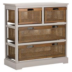 Showcasing 4 cane drawers and a grey finish, this pine wood chest is ideal for stowing towels in your master suite or magazines in the living room. ...