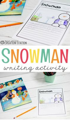 Winter Theme Activity- Try this free snowman themed writing activity printable for early education, pre-k, kindergarten and first grade! Your kids will love writing about your snowman at work. Try this great free learning kid's activity this winter! Grammar Activities, Kindergarten Activities, Writing Activities, Learning Activities, Kids Learning, Activities For Kids, Homeschooling Resources, Kindergarten Writing, Preschool Themes