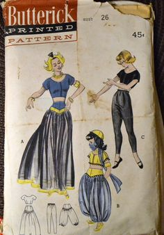 Vintage Sewing Pattern Butterick 6344 Misses' Costumes Dancing Girl Ballerina   Bust 26 inches Complete by GoofingOffSewing on Etsy $15