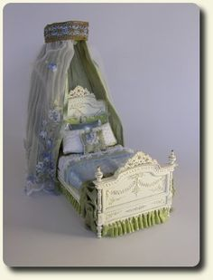 CDHM artisan Natalie Brooks creating under the business name of Casbah Miniatures creates dollhouse miniature beds in 1:12 scale