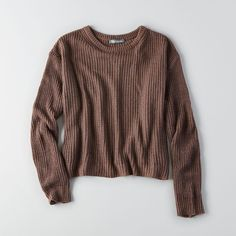 AEO Don't Ask Why Oversized Crew Sweater ($37) ❤ liked on Polyvore featuring tops, sweaters, iced mocha, crew-neck tops, brown sweater, over sized sweaters, oversized crew neck sweater and brown crew neck sweater