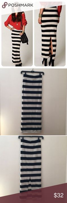 Free People Rugby Stripe Skirt - Black & Tan Just bought this and it's sadly too big for me! Need an XS - Can also be worn as a dress 😍 Free People Skirts Maxi