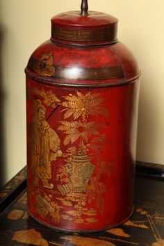 Antique Pair Regency Chinoiserie Tea Canisters, c.1795 | From a unique collection of antique and modern table lamps at https://www.1stdibs.com/furniture/lighting/table-lamps/