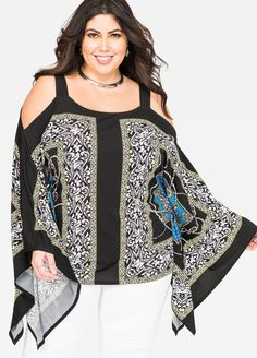 Status Cold Shoulder Poncho Blous Status Cold Shoulder Poncho Blous