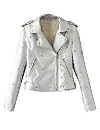 Abetteric Womens Winter Vogue Turn Down Collar Leather Silm Fit Fall Individuality Rivets Punk Rock Coats Silver M Best Winter Coats for Women USA Cute Winter Coats, Winter Coats Women, Coats For Women, Clothes For Women, Winter Outfits For Girls, Faux Leather Fabric, Winter Mode, Vintage Coat, Tee Dress