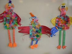 "1st  ""spring chickens."" First they created colorful paper using tissue paper prints. They saved the tissue and used it again for the fluffy feathers. They practiced drawing and cutting shapes to create the eyes, beak, wings, legs, and feet for their birds."