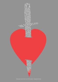Romeo and Juliet quotes in a heart