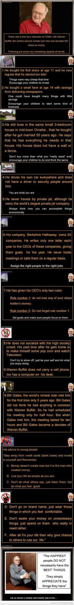 Simple, yet smart financial tips from Warren Buffett, the second richest man in . Warren Buffett, Move On, Warren Buffet Quotes, Money Talks, Rich Kids, Rich Man, Financial Tips, Way Of Life, Good Advice