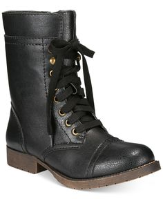 Rampage Jeliana Lace-Up Combat Booties - Sale & Clearance - Shoes - Macy's | Orig. $59.00; Now $26.24