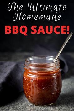 Barbeque Sauce Recipe Easy, Easy Homemade Bbq Sauce, Sweet And Tangy Bbq Sauce Recipe, Best Barbecue Sauce, Party Recipes, Meat Recipes, Snack Recipes, Liquid Smoke