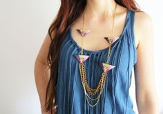 Geometric long necklace geometric statement necklace by CelineH2O, €74.00